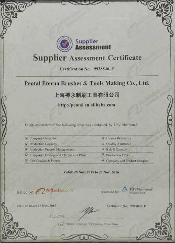 Supplier Assessment Certificate 2015-216